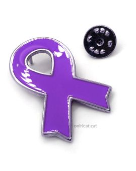 Metallic purple ribbon pin