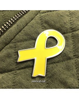 Metallic yellow ribbon pin