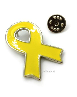 Metallic yellow ribbon pin