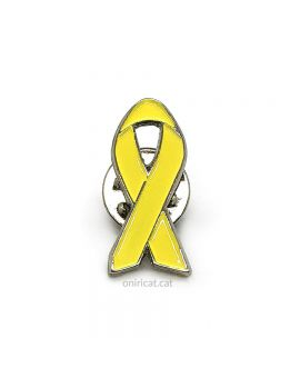 Metallic small yellow ribbon pin