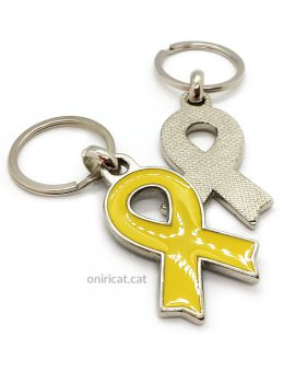 Yellow ribbon pin keychain